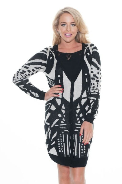 Monochrome Print Long Cardigan