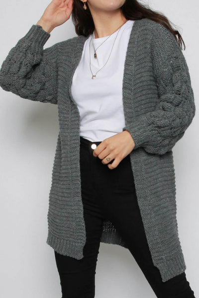 Charcoal Chunky knitted cardigan