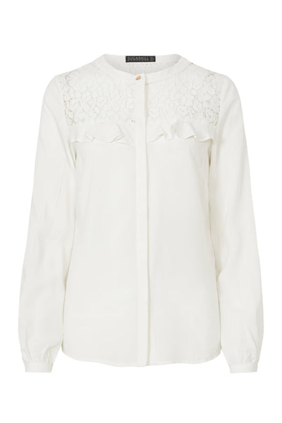 Lace Panel Frill Shirt