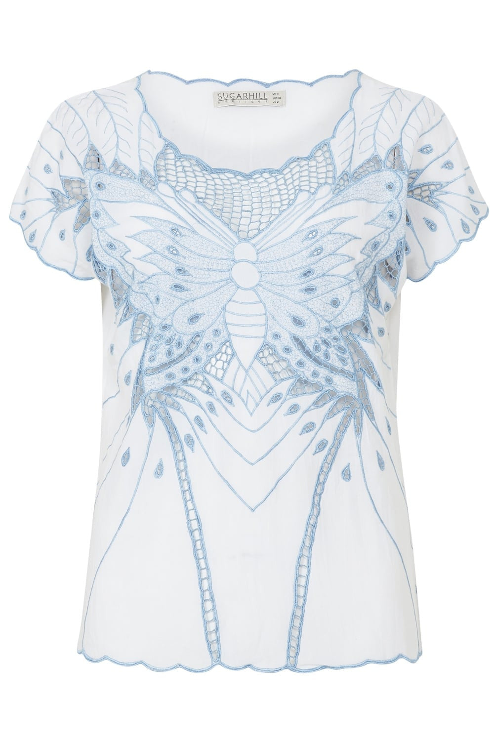 Blue Butterfly Cutwork Embroidered Top