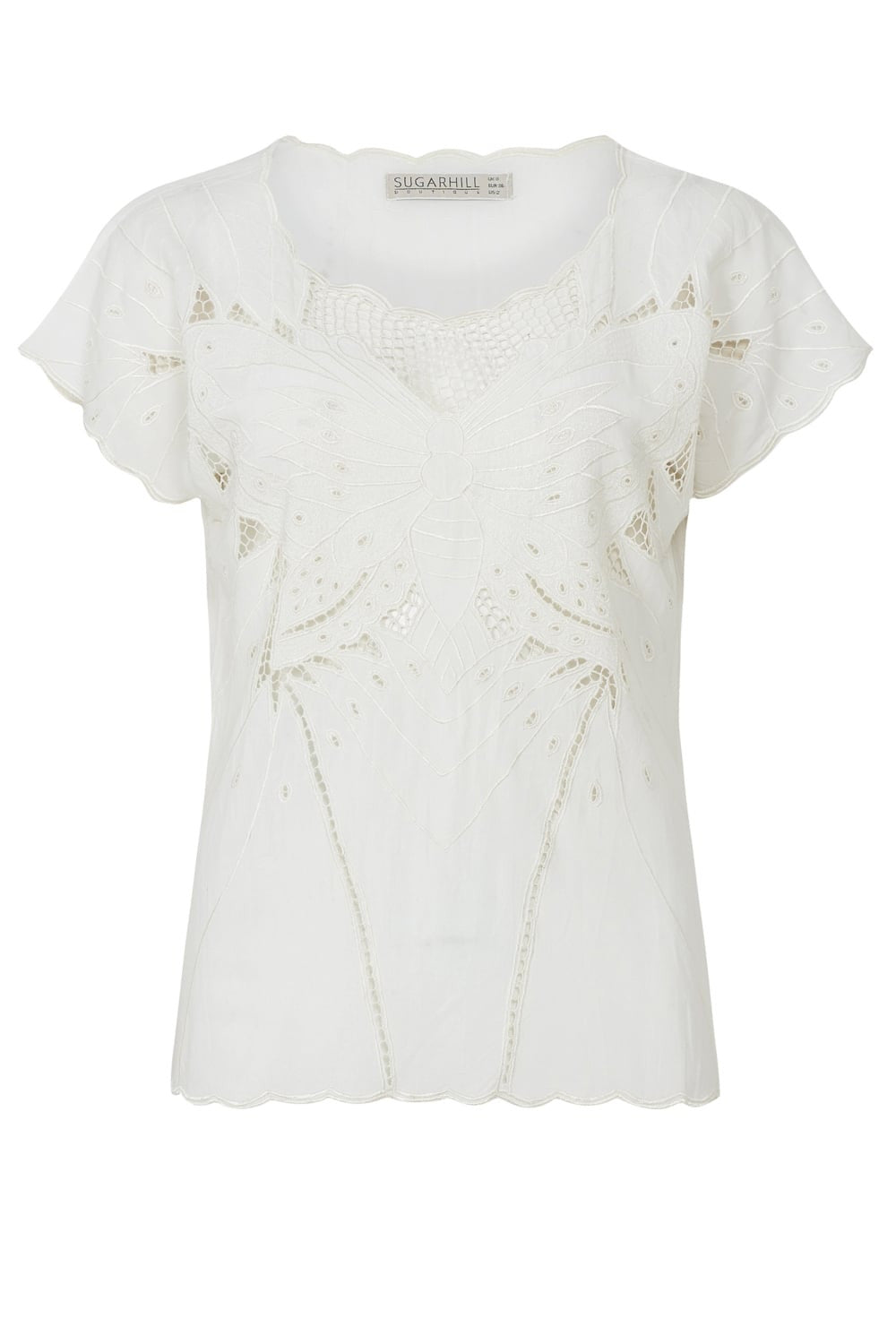 Cream Butterfly Cutwork Embroidered Top