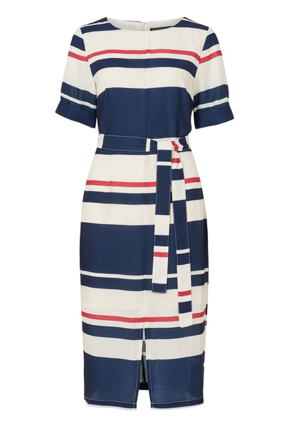 Stripe Belted Midi Dress
