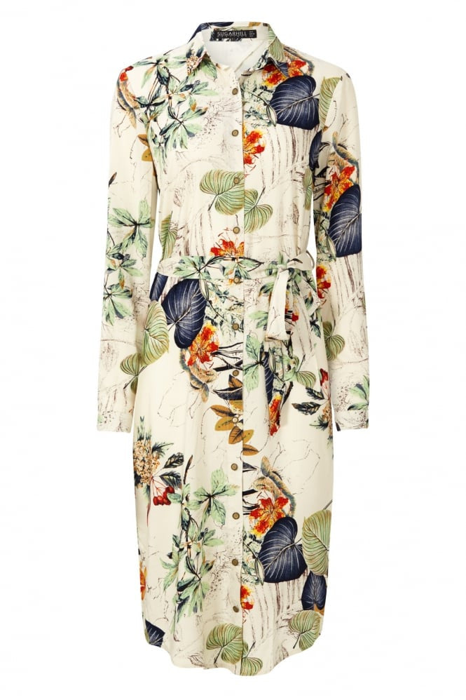 Palm Print Shirt Dress