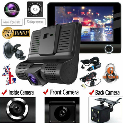 "4"" Car DVR Rearview Video Dual Lens HD 1080P Dash Cam Recorder Camera G-sensor - LL Trader"