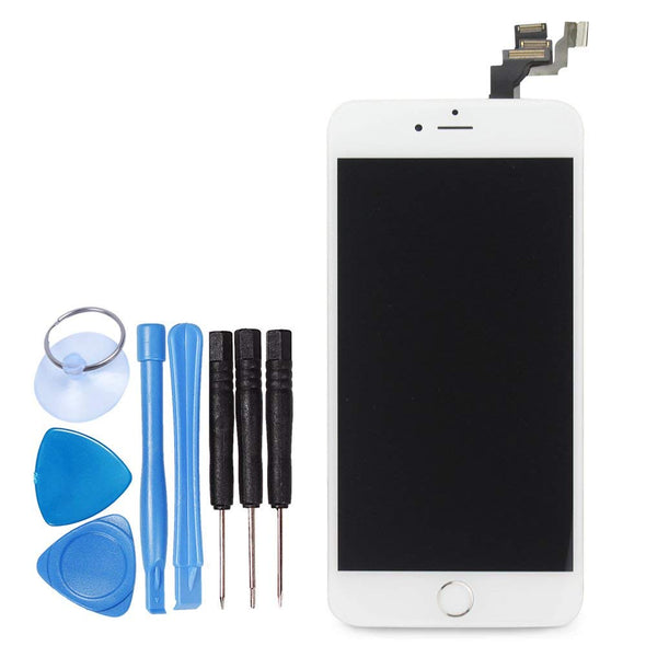 LL TRADER For iPhone 6 Plus white LCD Display Touch Screen Digitizer Glass Lens Full Assembly Repair Replacement 5.5 inch with Small Parts (including Home Button, Sensor Flex, Shield Plate) (White) - LL Trader