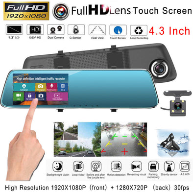 "4.3"" Touch Car DVR Dash Cam Rear Mirror Camera Recorder G-Sensor Night Vision - LL Trader"
