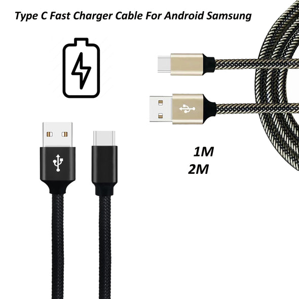 LL TRADER Charger Cable For Android Samsung USB-C Fast Charger 1M 2M Data Snyc - LL Trader