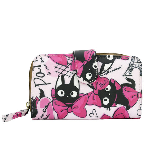 Medium Wallet with Clip - Black Cat with Bowtie - Pink