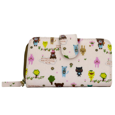 Medium Wallet with Clip - Cute Forest Animals