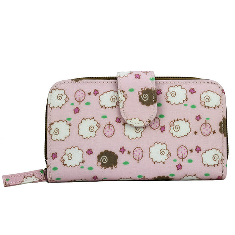 Medium Wallet with Clip - Fluffy Sheeps - Pink