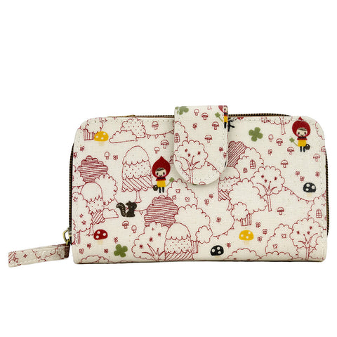 Medium Wallet with Clip - Little Red Riding Hood - White