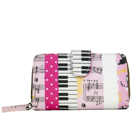 Medium Wallet with Clip - Piano and Cat - Pink