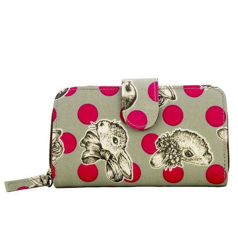 Medium Wallet with Clip - Rabbit with Red Polka Dots