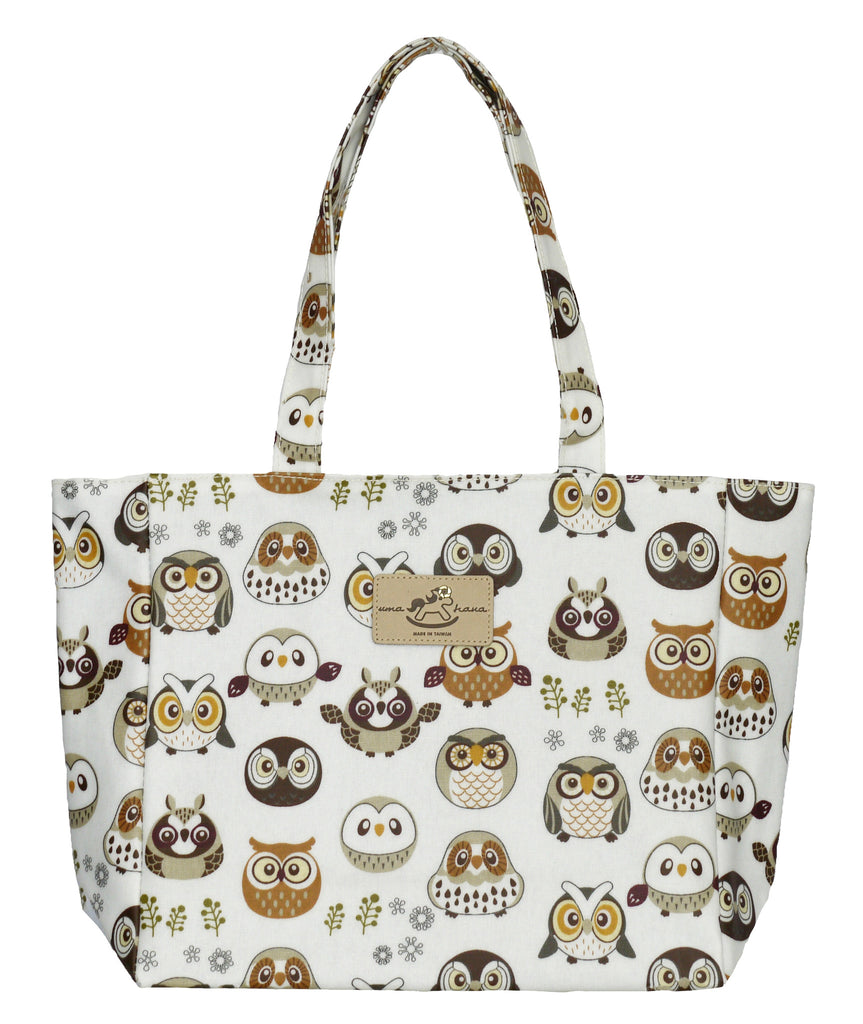 Medium Tote Bag with Zip - White Base Owls