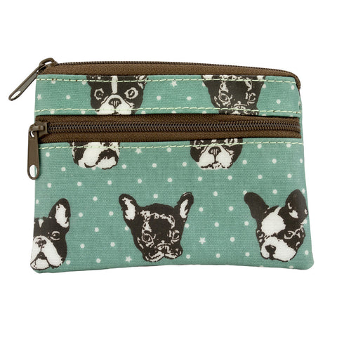 Coin Purse with Keyring - French Bulldog - Green