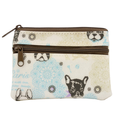 Coin Purse with Keyring - French Bulldog - White