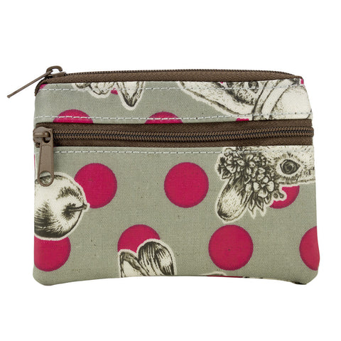 Coin Purse with Keyring - Rabbit with Polka Dots - Grey/Pink