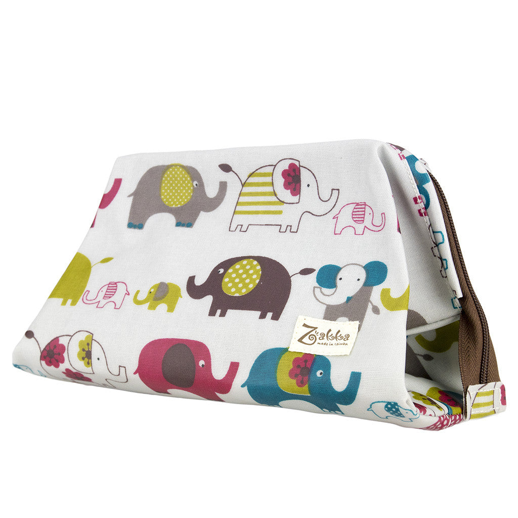Wide Access Cosmetic Bag - Elephants - White