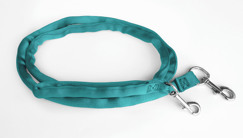 Teal-LuvMyLeash,6-10 ft option,Leash Harness-Stops Pulling,6 oz.,Padded,2 Snaps,8 in 1 ,U.S.A.