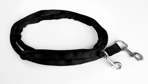 Black-LuvMyLeash,6-10 ft option,Leash Harness-Stops Pulling,6 oz.,Padded,2 Snaps,8 in 1 ,U.S.A.