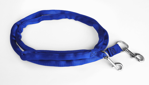 Blue-LuvMyLeash,6-10 ft option,Leash Harness-Stops Pulling ,6oz.,Padded,2 Snaps,8 in 1 ,U.S.A.