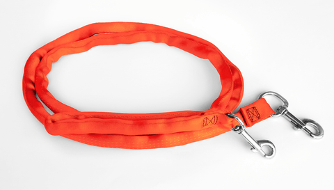 Orange-LuvMyLeash,6-10 ft option,Leash Harness-Stops Pulling ,6oz.,Padded,2 Snaps,8 in 1 ,U.S.A.