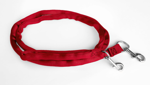 Red-LuvMyLeash,6-10 ft option,Leash Harness-Stops Pulling ,6oz.,Padded,2 Snaps,8 in 1 ,U.S.A.