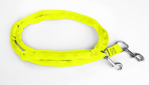 Yellow-LuvMyLeash,6-10 ft option,Leash Harness-Stops Pulling ,6oz.,Padded,2 Snaps,8 in 1 ,U.S.A.