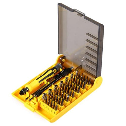 TOOL12-45 IN 1 INTERCHANGEABLE SCREWDRIVER TOOL SET WITH SOFT HARD EXTENSION SHAFT (YELLOW)