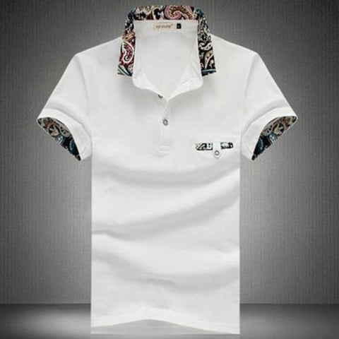 MEN00-STYLISH TURN COLLAR SHORT SLEEVE SPLICED PRINTED SHEATHY SHIRT FOR MEN (WHITE)