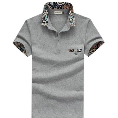 MEN00-STYLISH TURN COLLAR SHORT SLEEVE SPLICED PRINTED SHEATHY SHIRT FOR MEN (GRAY)