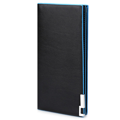 MEN02-THIN VERTICAL TWO FOLD SOFT LONG WALLET FOR MEN (SAPPHIRE BLUE)