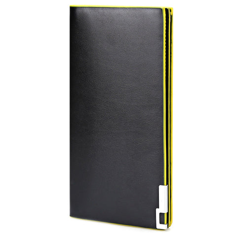 MEN02-THIN VERTICAL TWO FOLD SOFT LONG WALLET FOR MEN (YELLOW)