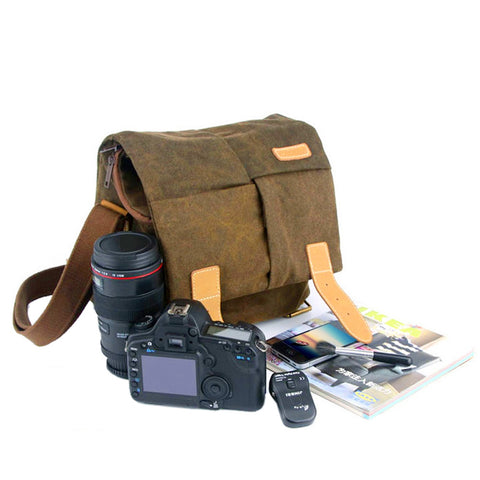 MEN03-WATER-RESISTANT CANVAS CAMERA BAG FOR TRAVEL DAILY LIFE