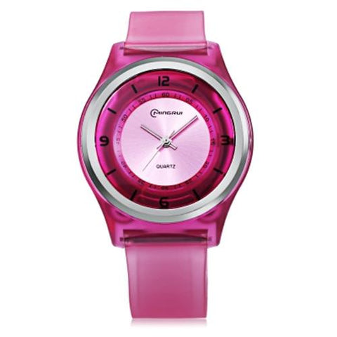 KID01-MINGRUI MR - KIDS QUARTZ WATCH 30M WATER RESISTANCE PLASTIC STRAP WRISTWATCH (PINK)