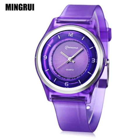 KID01-MINGRUI MR - KIDS QUARTZ WATCH 30M WATER RESISTANCE PLASTIC STRAP WRISTWATCH (PURPLE)