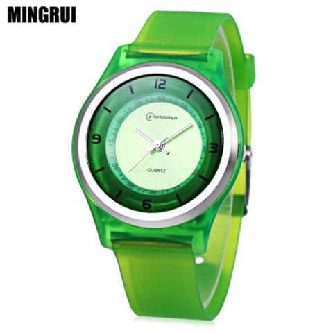 KID01-MINGRUI MR - KIDS QUARTZ WATCH 30M WATER RESISTANCE PLASTIC STRAP WRISTWATCH (GREEN)