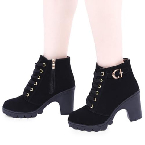 cbe6c8607829 WMN01- STYLISH PURE COLOR LACE UP ZIPPER DECORATION LADIES THICK HIGH HEEL  ANKLE BOOTS (