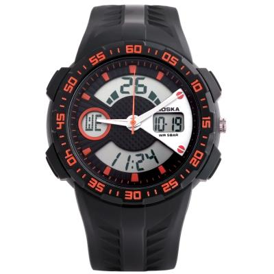 KID01-HOSKA HD029B CHILDREN WRISTWATCH (BLACK AND ORANGE)