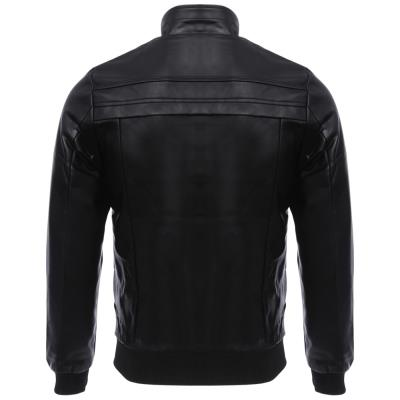 MEN00- STAND COLLAR SLIM FIT LEATHER COAT (BLACK) L