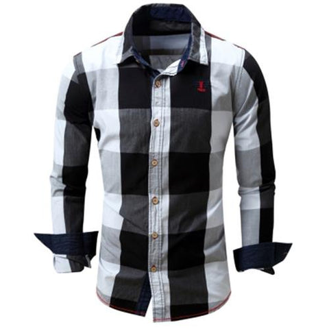 MEN00-TURN-DOWN COLLAR PLAID PATTERN LONG SLEEVE SHIRT FOR MEN (BLACK)