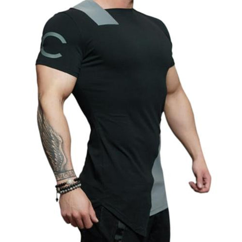 MEN00-ASYMMETRIC COLOR BLOCK SHORT SLEEVE TEE (GRAY)