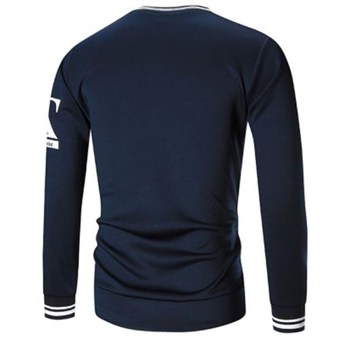 MEN00-CREW NECK Z PRINT SWEATSHIRT (CADETBLUE)