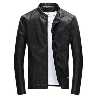 MEN00- STAND COLLAR LONG SLEEVE PU ZIPPER MEN JACKET (BLACK) 2XL