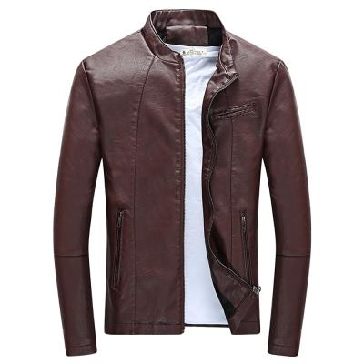 MEN00- STAND COLLAR LONG SLEEVE PU ZIPPER MEN JACKET (CLARET) XL