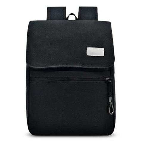 MEN03-CANVAS DOUBLE POCKET ZIPPERS BACKPACK (BLACK)