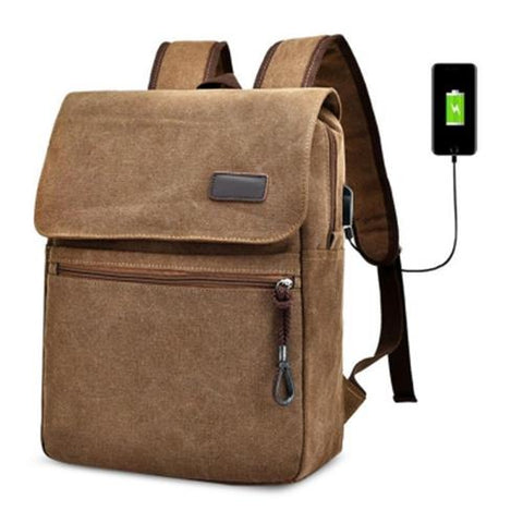MEN03-CANVAS DOUBLE POCKET ZIPPERS BACKPACK (COFFEE)