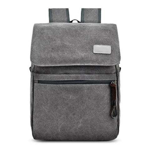 MEN03-CANVAS DOUBLE POCKET ZIPPERS BACKPACK (GRAY)