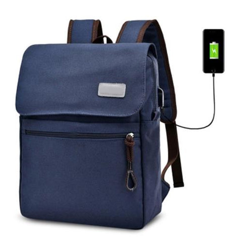 MEN03-CANVAS DOUBLE POCKET ZIPPERS BACKPACK (BLUE)