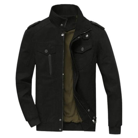 MEN00-MENS COTTON ZIP UP JACKET (BLACK)
